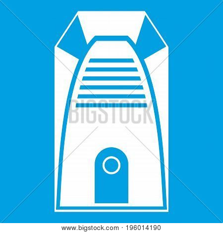 Modern electric home heater icon white isolated on blue background vector illustration