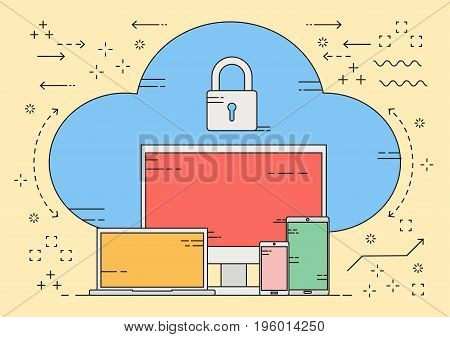 Flat line vector device connecting to secure cloud authentication with key lock. Vector illustration business trend cloud computing concept.