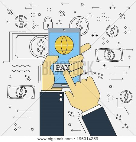 Doodle design vector flat line Financial technology of fintech businessman hand with mobile phone online payment . Vector illustration concept design start up business.