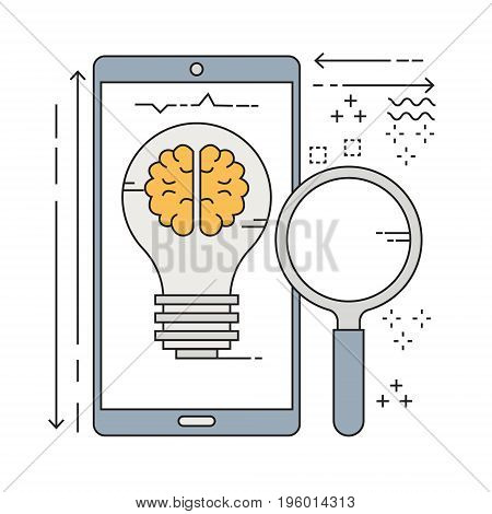 Vector flat line light bulb idea on mobile phone and magnifying glass. Vector illustration business share idea concept.