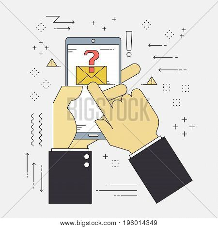 Flat line design concepts of cyber security and cybercrime unkown spam mail virus. Vector illustration cyber security concept.