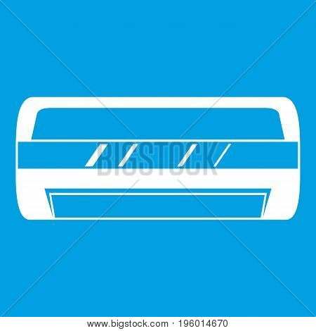 Conditioning split system icon white isolated on blue background vector illustration