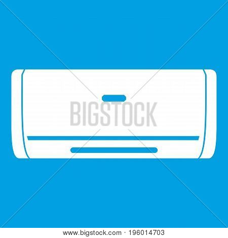 Internal unit air conditioner icon white isolated on blue background vector illustration
