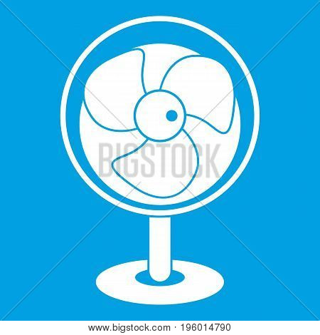 Vintage electric fan icon white isolated on blue background vector illustration
