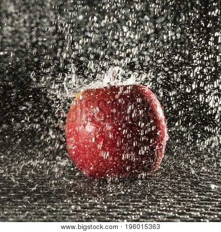 a fresh red apple in the rain