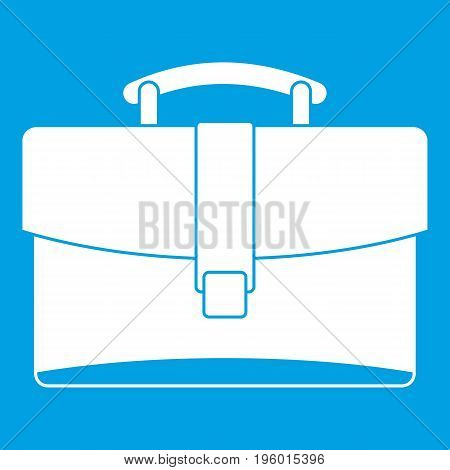 Leather briefcase icon white isolated on blue background vector illustration