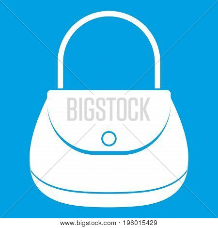 Woman bag icon white isolated on blue background vector illustration