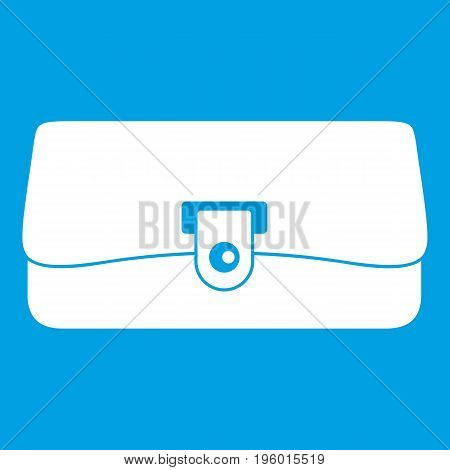 Small wallet icon white isolated on blue background vector illustration