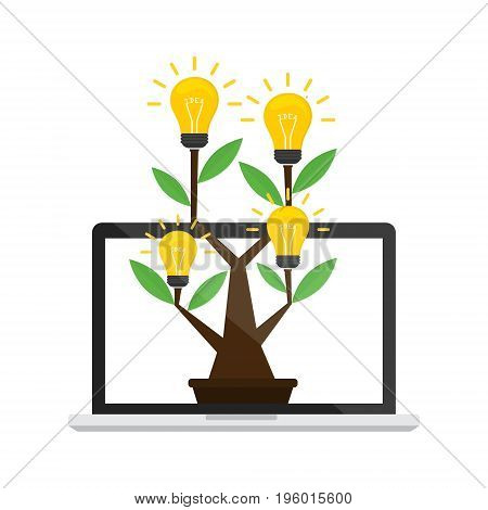 Idea tree with idea light bulb on computer laptop with internet online on white background. Vector illustration online internet business idea concept design.