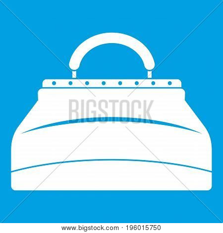 Carpetbag icon white isolated on blue background vector illustration
