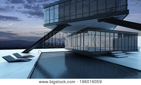 Abstract building wire frame structure design modern minimal Black steel frame surrounded by black glass. Mountain view - 3D render