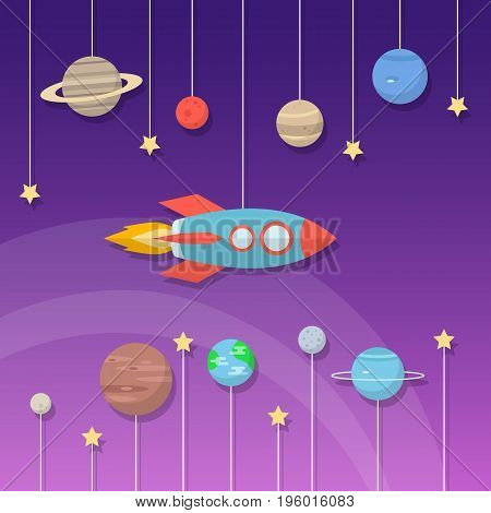 Set of cartoon space elements: rockets, planets and stars. Vector illustration.