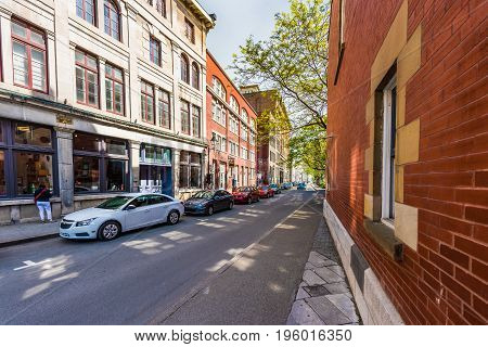 Montreal, Canada - May 28, 2017: Old Town Street By Center Of History Museum In Quebec Region City