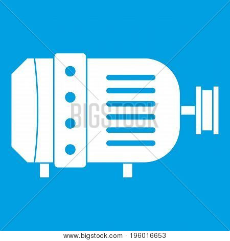 Electric motor icon white isolated on blue background vector illustration