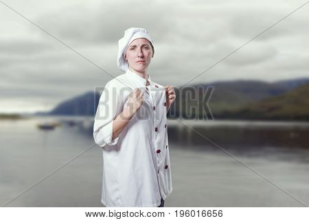 Young Woman Chef Is Proud Of Herself