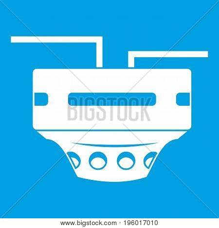 Monitor socket icon white isolated on blue background vector illustration
