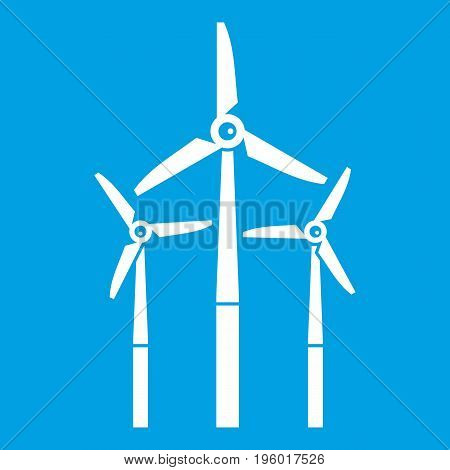Windmill icon white isolated on blue background vector illustration