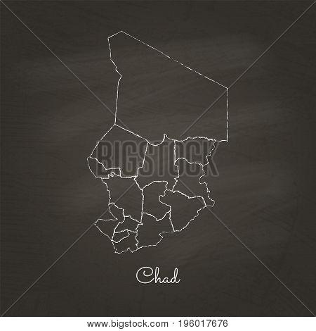 Chad Region Map: Hand Drawn With White Chalk On School Blackboard Texture. Detailed Map Of Chad Regi