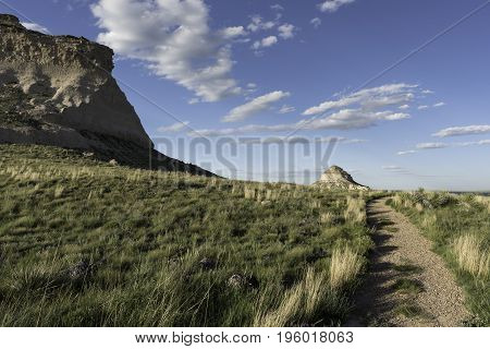 West and East Pawnee Butte on the Pawnee National Grasslands in Northeastern Colorado. A two mile trail can be used to view the Pawnee Buttes.