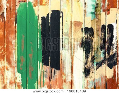 Retro Background Metal Fence Painted With Paints Of Different Colors. Grunge Textures And Background