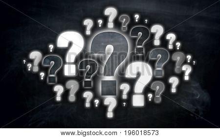 Question mark cloud Concept visualization picture background