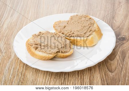 Piece Of Bread, Sandwiches With Liver Paste In White Plate