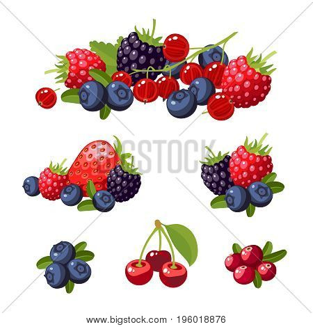 Set of colorful cartoon berries: blueberry blackberry cherry raspberry red currant strawberry. Vector flat icon illustration isolated on white