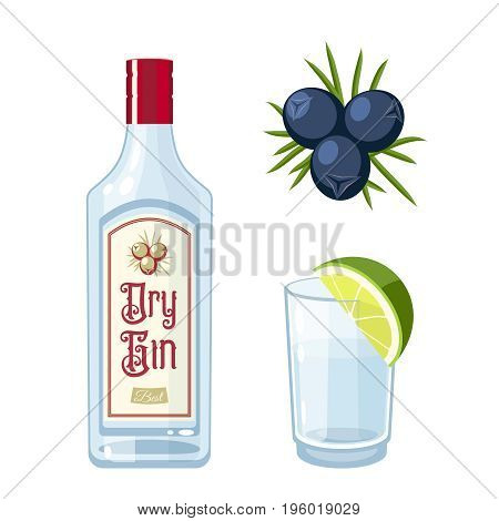 Set of dry gin bottle tonic cocktail with lime juniper berries. Vector illustration flat icon isolated on white.