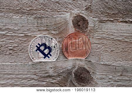 Silver Bitcoin And Brass Dogecoin