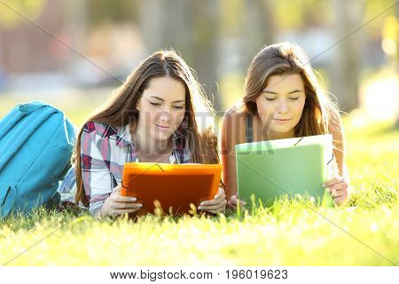 Concentrated Students Studying Reading Notes