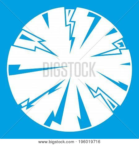 Dangerous planet icon white isolated on blue background vector illustration