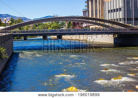 Pedestrian & Traffic Bridge Over Truckee River In Reno, Nevada