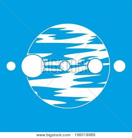 Planet and moons icon white isolated on blue background vector illustration