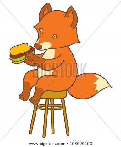 Cute cartoon fox holding big tasty sandwich - vector drawing