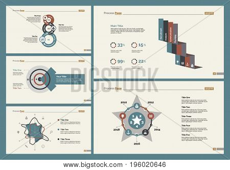 Infographic design set can be used for workflow layout, diagram, annual report, presentation, web design. Business and management concept with process, radar and percentage charts.