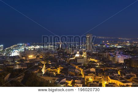 Alicante Spain. July 10 2017: Views of the city of Alicante at dusk from the castle of Santa Bárbara.