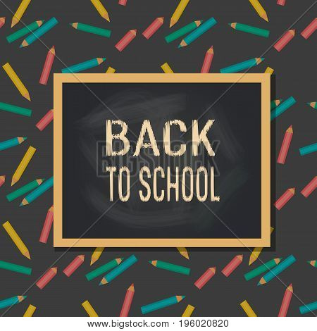 Back to school banner concept. Idea for typography welcome poster with border. Frame with pens. Cute colorful fancy letters. Headline announcement to study. Invitation background. Vector illustration