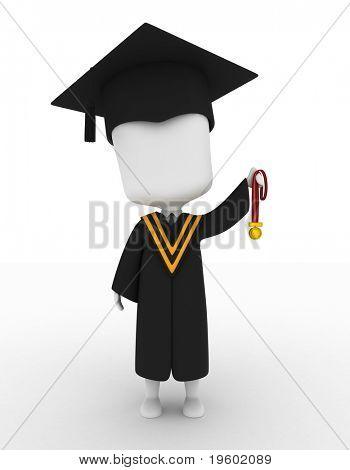 3D Illustration of a Graduate Holding His Medal Up High
