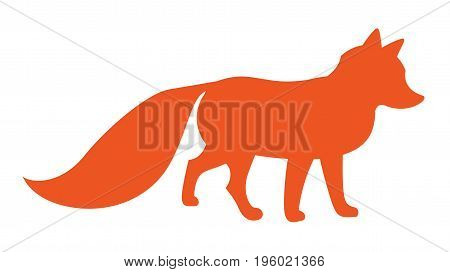 funny cartoon fox red silhouette  - Vector stylized illustration