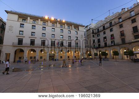 Acade Of The City Of Alicante At Nightfall