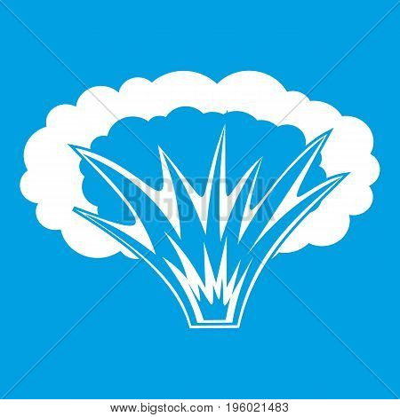 Atomical explosion icon white isolated on blue background vector illustration