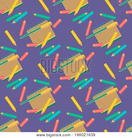 Seamless pattern. Red blue yellow pens. Hand drawn fancy cartoon style. Design idea for back to school web project layout or cover. Printing textile packaging background. Vector illustration