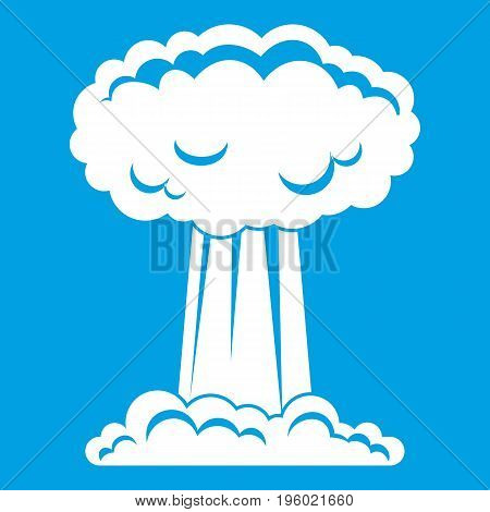 Mushroom cloud icon white isolated on blue background vector illustration