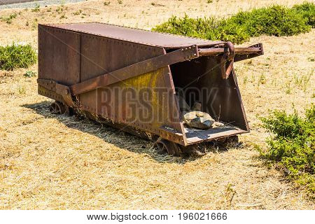 Vintage Rusty Mining Ore Cart Carrier On Ground