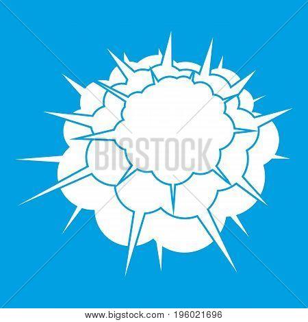 Atomic explosion icon white isolated on blue background vector illustration