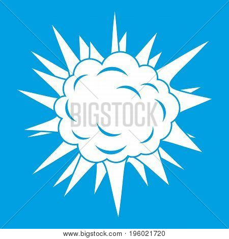 Terrible explosion icon white isolated on blue background vector illustration