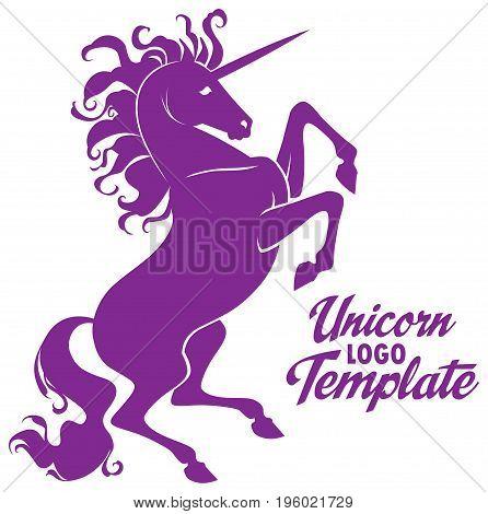 Vector stylized prance beautiful unicorn logo template