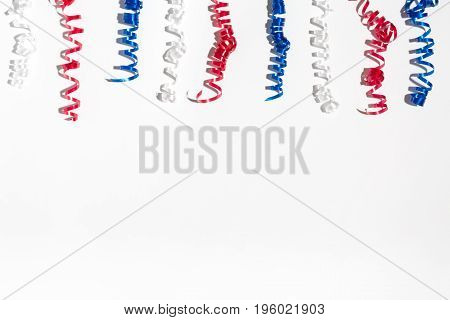 USA holiday decorations on a white background flat lay