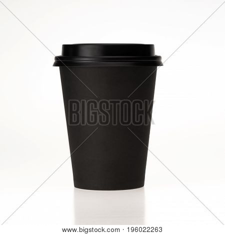 Black Paper Coffee Cup Isolated On White Background