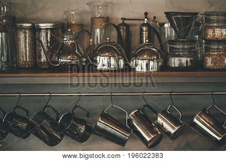 Accessories and items for coffee on a background of a concreat wall. School barista. Equipment for cafes.color Retro Style.Thailand